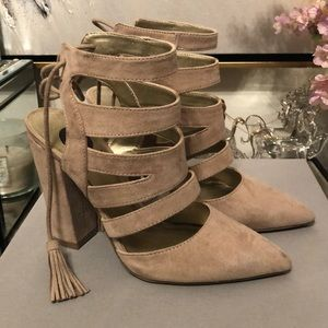Suede cage pumps with chunky heel